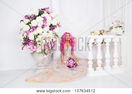 Collonade antique background, flowers, green grass, glade, barbie, pretty, shoot, edoitorial rose pink beautiful happy rose long and curly hair