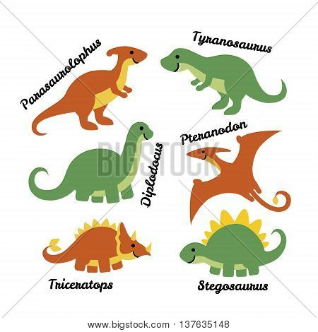 Set of cute cartoon dinosaurs isolated on white background. Art vector illustration.