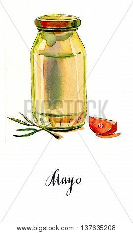Mayonnaise in glass jar with green lid sliced tomato and olive sprig hand drawn - watercolor Illustration