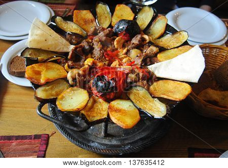 The delicious assorti sac dish at a restaurant in Baku, Azerbaijan.