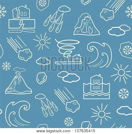 Natural disasters and weather conditions, seamless gray-blue background. Vector background with linear icons of natural disasters and the weather. White on gray-blue background. Vector background with linear icons of natural disasters and the weather. Whi