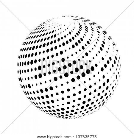 Halftone sphere isolated on white background.