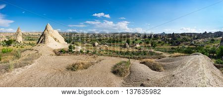 Panoramic view of stone formations in Goreme national park Cappadocia Turkey