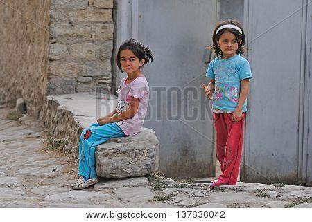 Lahic, Azerbaijan - August 30, 2014. Two little girls in Lahic mountainous village of Azerbaijan.