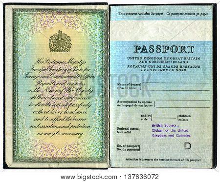 SAMARA, RUSSIA - MAY 14, 2016: Old British passport isolated on white background
