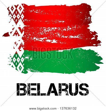Flag of Belarus from brush strokes isolated on white background. Vector illustration