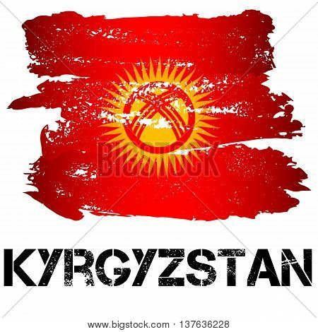 Flag of Kyrgyzstan from brush strokes isolated on white background. Vector illustration