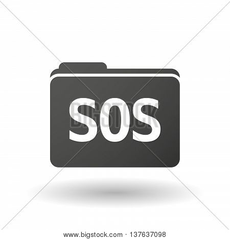 Isolated Folder Icon With    The Text Sos
