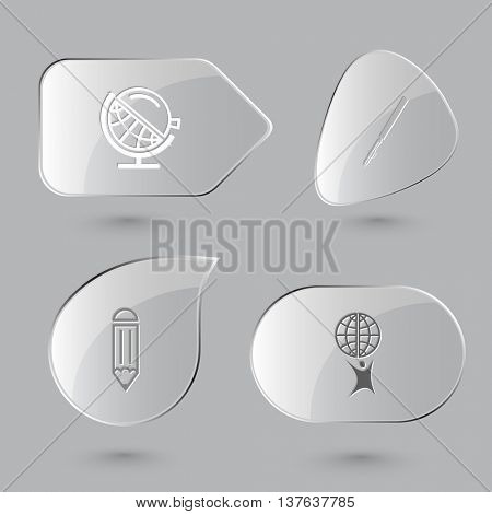 4 images: globe and loupe, ruling pen, pencil, little man with globe. Education set. Glass buttons on gray background. Vector icons.