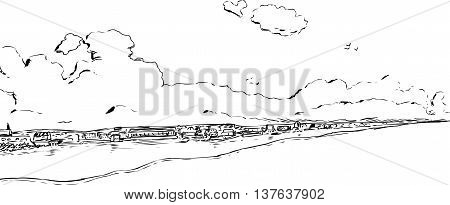 Skyline background outlined illustration of Stockholm during the 18th century
