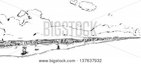 Skyline outline illustration of Stockholm with boats during the 18th century