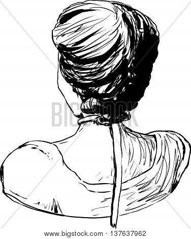 Hand drawn outline sketch of 18th century female hair fashion