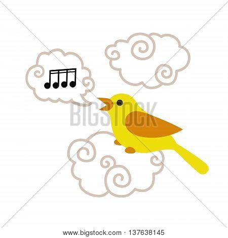 Cute cartoon bird sitting on the cloud and singing song isolated on white background. Art vector illustration.