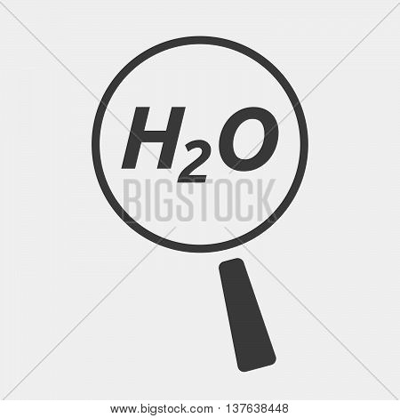 Isolated Magnifying Glass Icon Focusing    The Text H2O