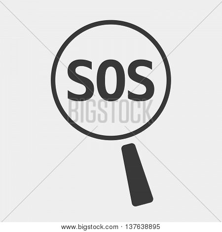 Isolated Magnifying Glass Icon Focusing    The Text Sos