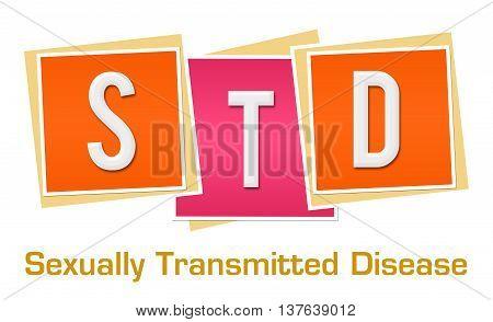 STD text alphabets written over pink orange background.