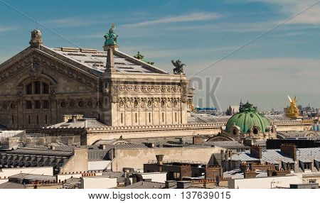 The Opera house of Paris and parisian roofs France.