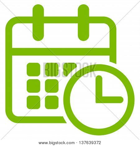 Timetable vector icon. Style is flat symbol, eco green color, rounded angles, white background.