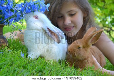 A young girl with a small red rabbit breed in New Zealand and California and a bouquet of blue delphinium close