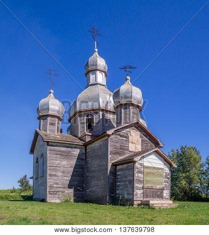 Abandoned old Ukrainian church on the prairies.