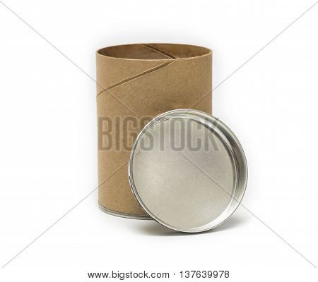 cardboard tube packaging open in vertical  position isolated