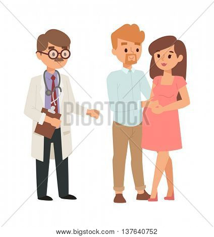 Pregnant woman family and doctor vector