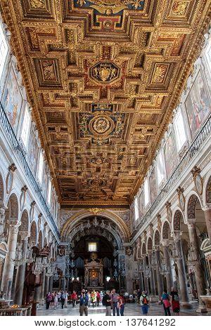 ROME ITALY - MAY 9, 2012: Interior view of Basilica Santa Maria in Aracoeli