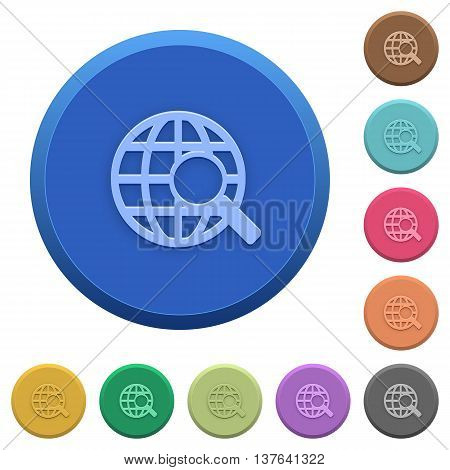 Set of round color embossed web search buttons