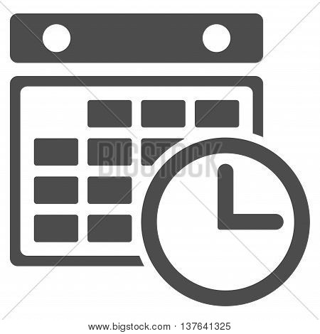 Timetable vector icon. Style is flat symbol, gray color, rounded angles, white background.