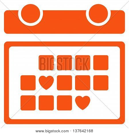 Favourite Days vector icon. Style is flat symbol, orange color, rounded angles, white background.