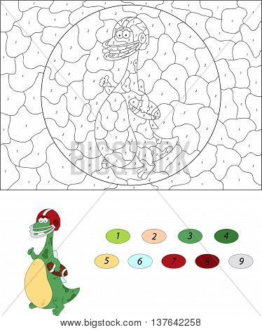 Cartoon Dragon With A Rugby Ball Isolated On White. Color By Number Educational Game For Kids