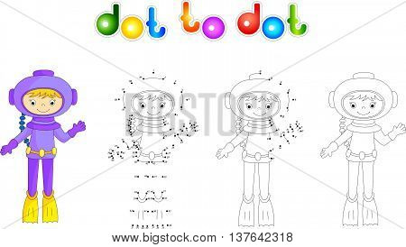 Cartoon Diver. Coloring Book And Dot To Dot Game For Kids