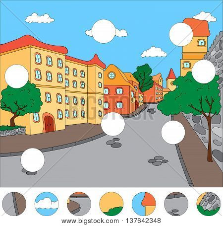 The Streets Of The Old Town. Complete The Puzzle And Find The Missing Parts Of The Picture. Game For