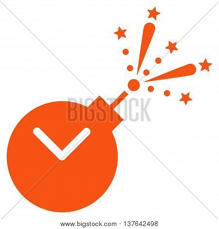 Time Fireworks Charge vector icon. Style is flat symbol, orange color, rounded angles, white background.