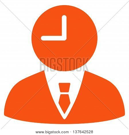 Time Manager vector icon. Style is flat symbol, orange color, rounded angles, white background.