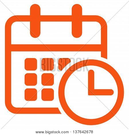 Timetable vector icon. Style is flat symbol, orange color, rounded angles, white background.