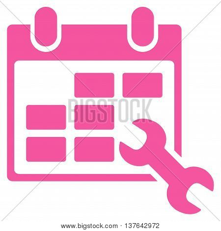 Configure Timetable vector icon. Style is flat symbol, pink color, rounded angles, white background.