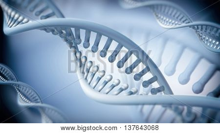 DNA Double Helix abstract background. 3D rendering