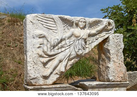 Stone Carving Of The Goddess Nike In Ancient Ephesus Turkey