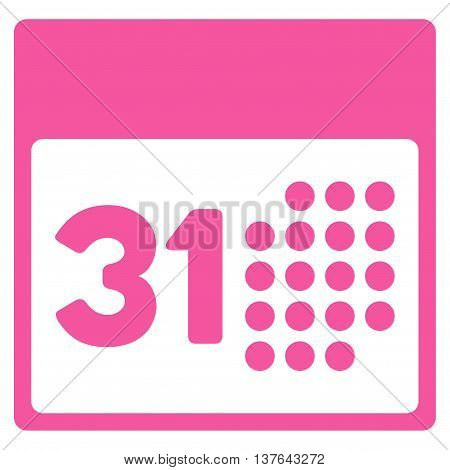 Last Month Date vector icon. Style is flat symbol, pink color, rounded angles, white background.