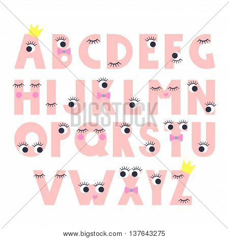 Cute abstract alphabet with cartoon eyes with lashes on white background.