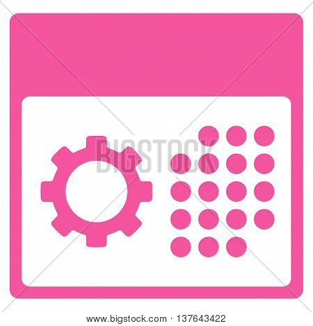 Service Organizer vector icon. Style is flat symbol, pink color, rounded angles, white background.