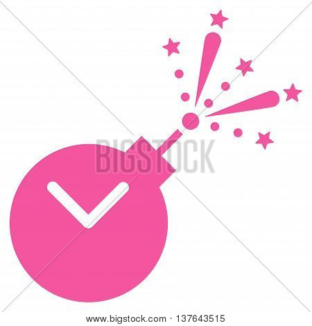 Time Fireworks Charge vector icon. Style is flat symbol, pink color, rounded angles, white background.