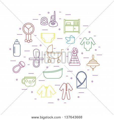 Thin line colorful icons on baby themes composed in circle shape. Can be used for baby shower cards invitations etc.