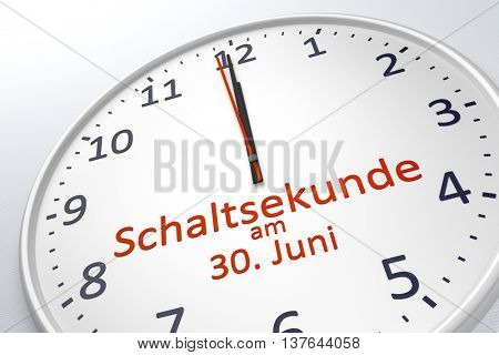3d rendering of a clock showing leap second at june 30 in german language