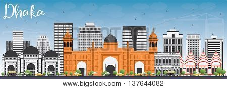 Dhaka Skyline with Gray Buildings and Blue Sky. Vector Illustration. Business Travel and Tourism Concept with Historic Buildings. Image for Presentation Banner Placard and Web Site.