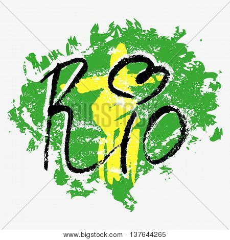 Print with lettering about Rio de Janeiro and green yellow blue paint splashes on grey background. Pattern for fabric textiles clothing shirts t-shirts. Vector illustration