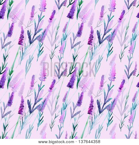 Beautiful watercolor lavender, hand drawn illustration, seamless pattern.
