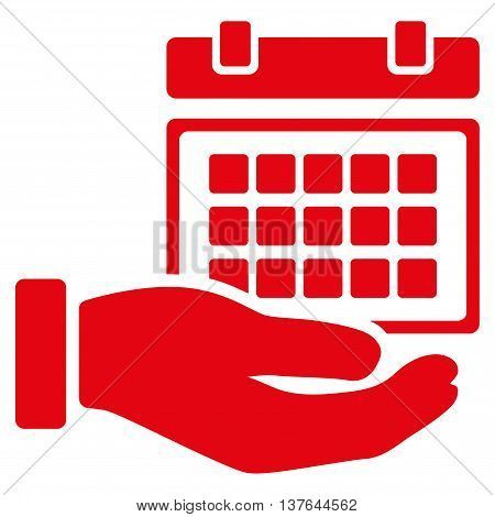 Service Timetable vector icon. Style is flat symbol, red color, rounded angles, white background.