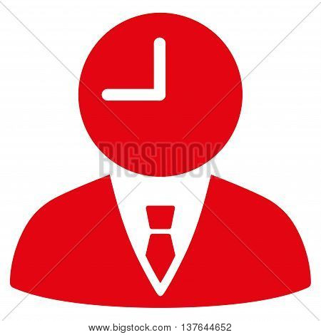 Time Manager vector icon. Style is flat symbol, red color, rounded angles, white background.